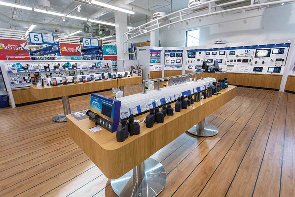 The Seattle superstore's electronics shop is more than twice the size of  those in other West Marine stores.