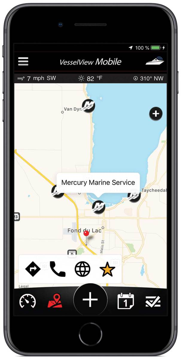 The app' s features include displaying local points of interest, including service centers.