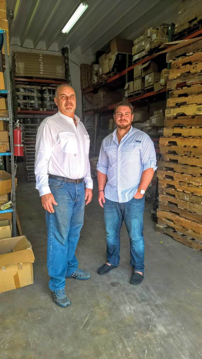 Raul J. Pla (left) and his son Raul G. Pla founded AirWave five years ago to focus on the marine space; all components are made in America.