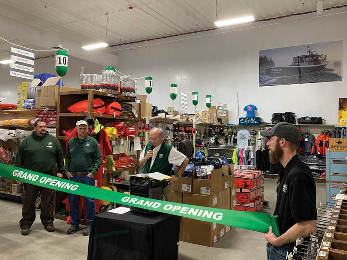 """Wayne Hamilton (center) thinks of his new location in Portland, Maine, as a """"superstore."""""""