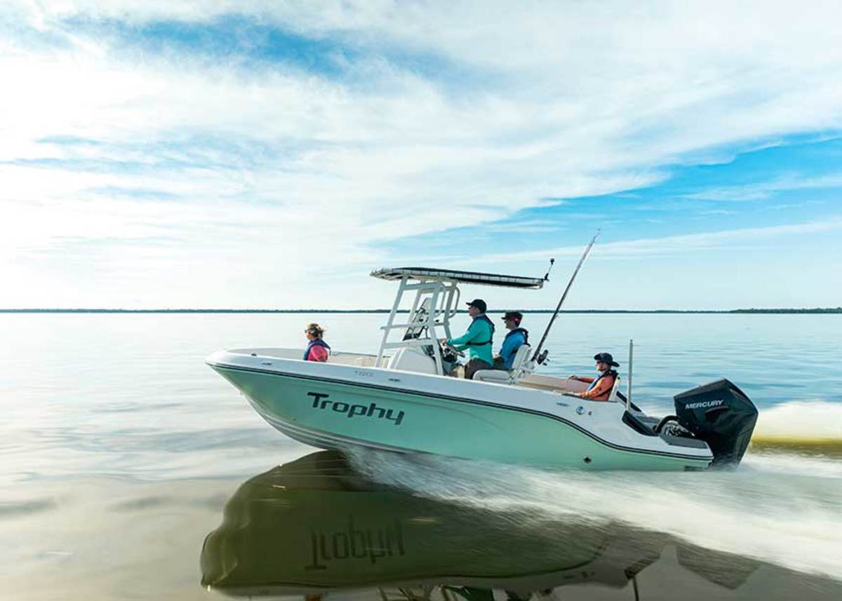 Bayliner relaunched its Trophy fishing boat series with six new models, including the T22CC.