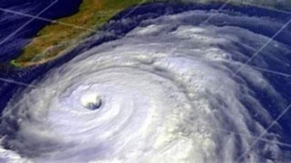Hurricane Katrina shortly after landfall, August 29, 2005, as captured by NOAA's GOES-12 weather satellite.