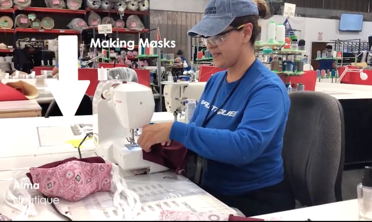 Nautique workers make masks to help address the critical shortage.