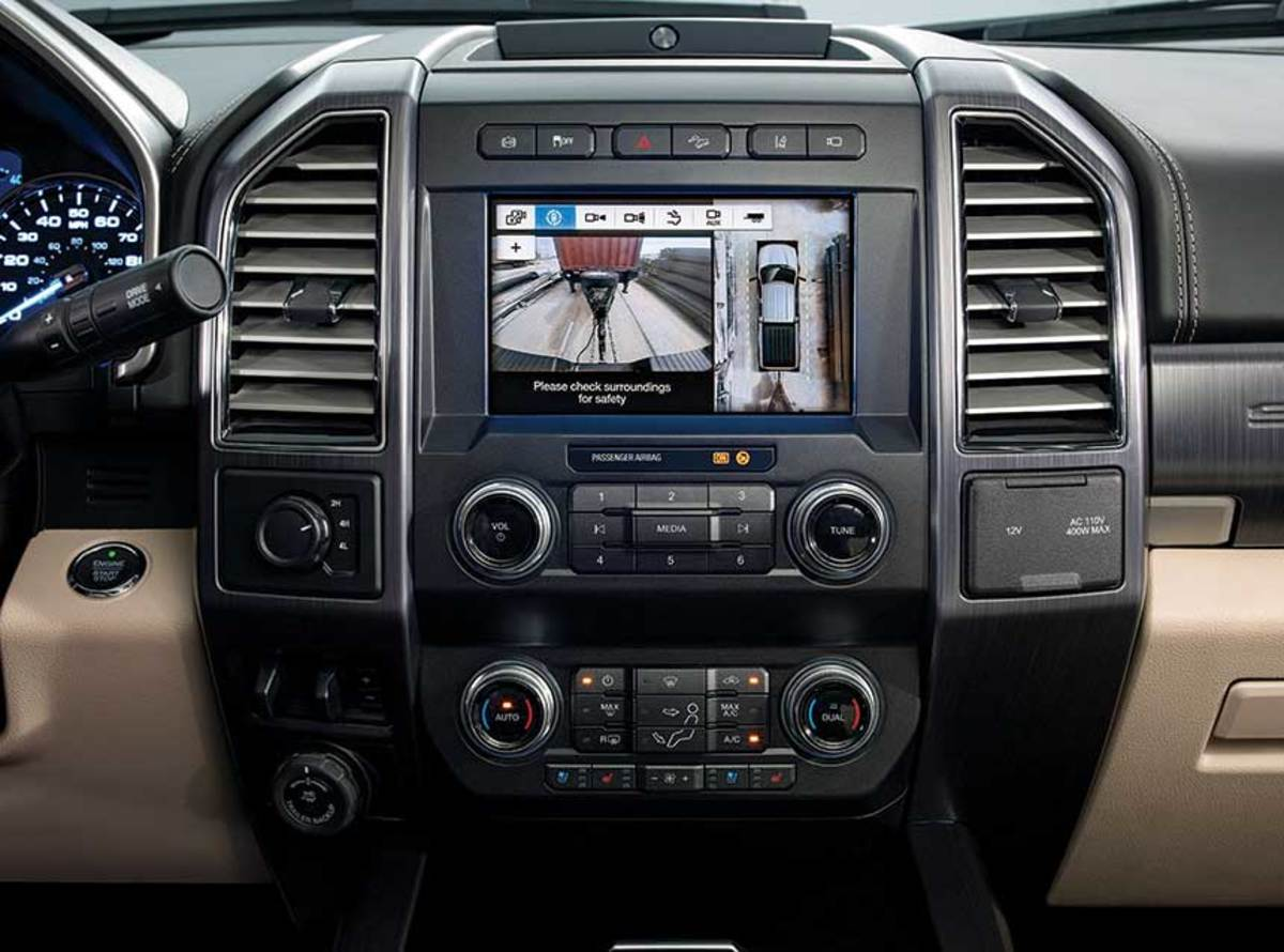 The third-generation of Ford's 6.7-liter Power Stroke diesel puts out 475 hp and 1,050 foot-pounds of torque.  The truck's touch screen can show up to seven camera angles in Pro Trailer Backup Assist mode.