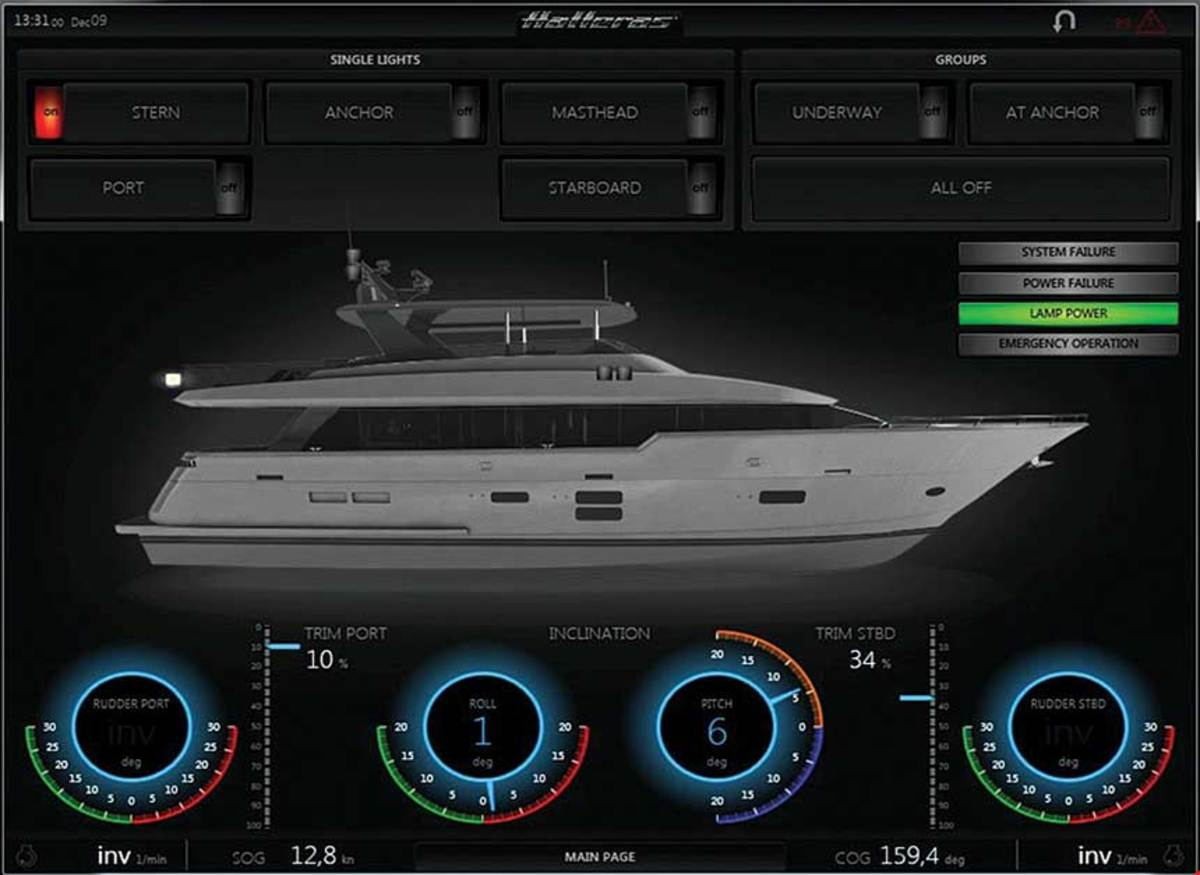 Hatteras' Hatt/Con allows control of nearly every aspect of the boat from the helm and