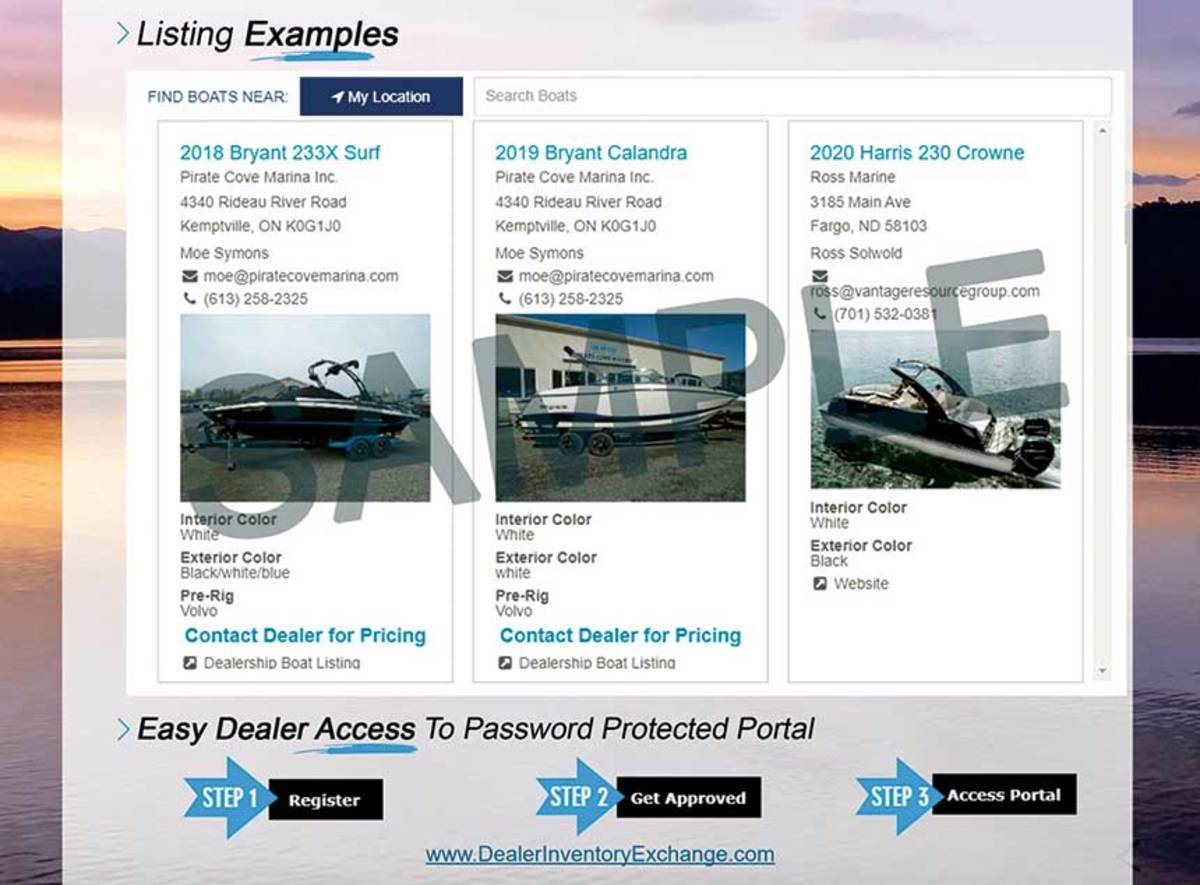 Many boats being built in April in May were already sold. DealerInventoryExchange.com seeks to help dealers minimize repossessions, which were a major problem during the Great Recession.