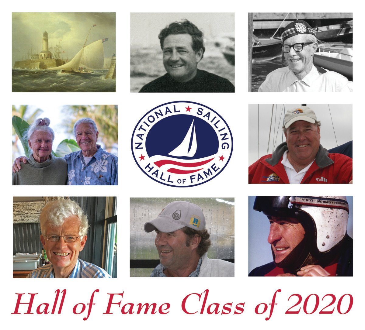 From top left moving clockwise: James E. Buttersworth, Briggs Cunningham, Jr., Gordon Douglass, Robbie Haines, Jr., Bill Mattison, Dave Perry, John Rousmaniere and Diane and Hoyle Schweitzer.