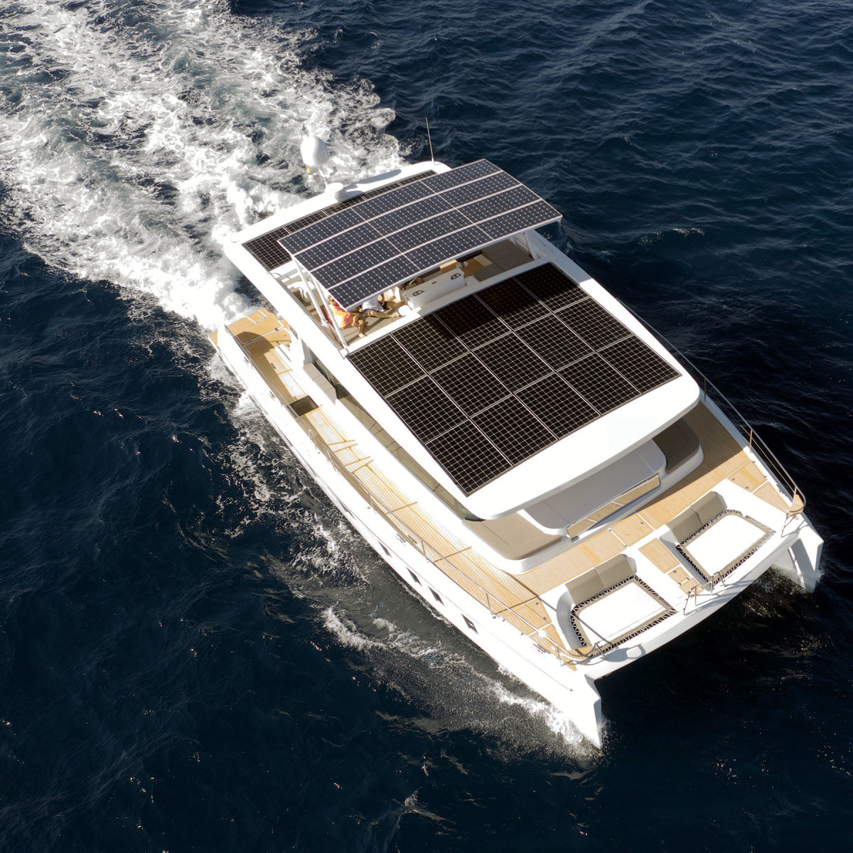 Silent Yachts' 55-foot, solar-powered catamaran. The company builds  vessels to 80 feet.