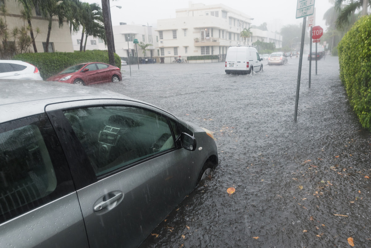 Miami floods frequently, even absent a storm. Adobe stock photo.