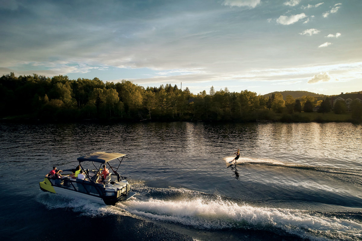 The boats are powered by a Rotax jetdrive from 100 to 230 hp.  Options include a Bimini top or full enclosure.
