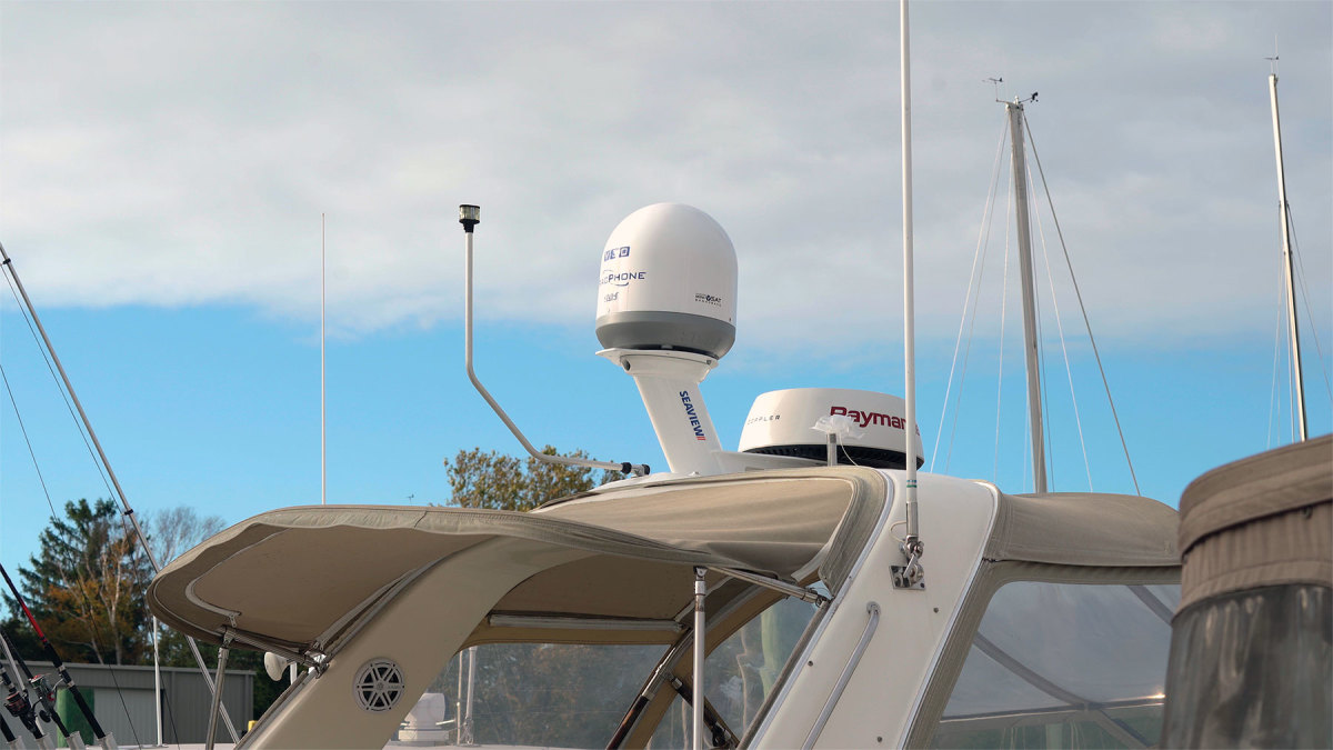 At 14.5 inches in diameter, the KVH TracPhone V30 is popular on a wide range of boats.