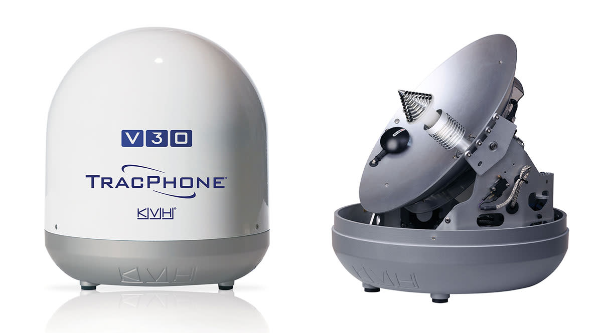 KVH's TracPhone V30 includes a DC-powered design and a  modem in the dome for higher signal strength and efficiency.