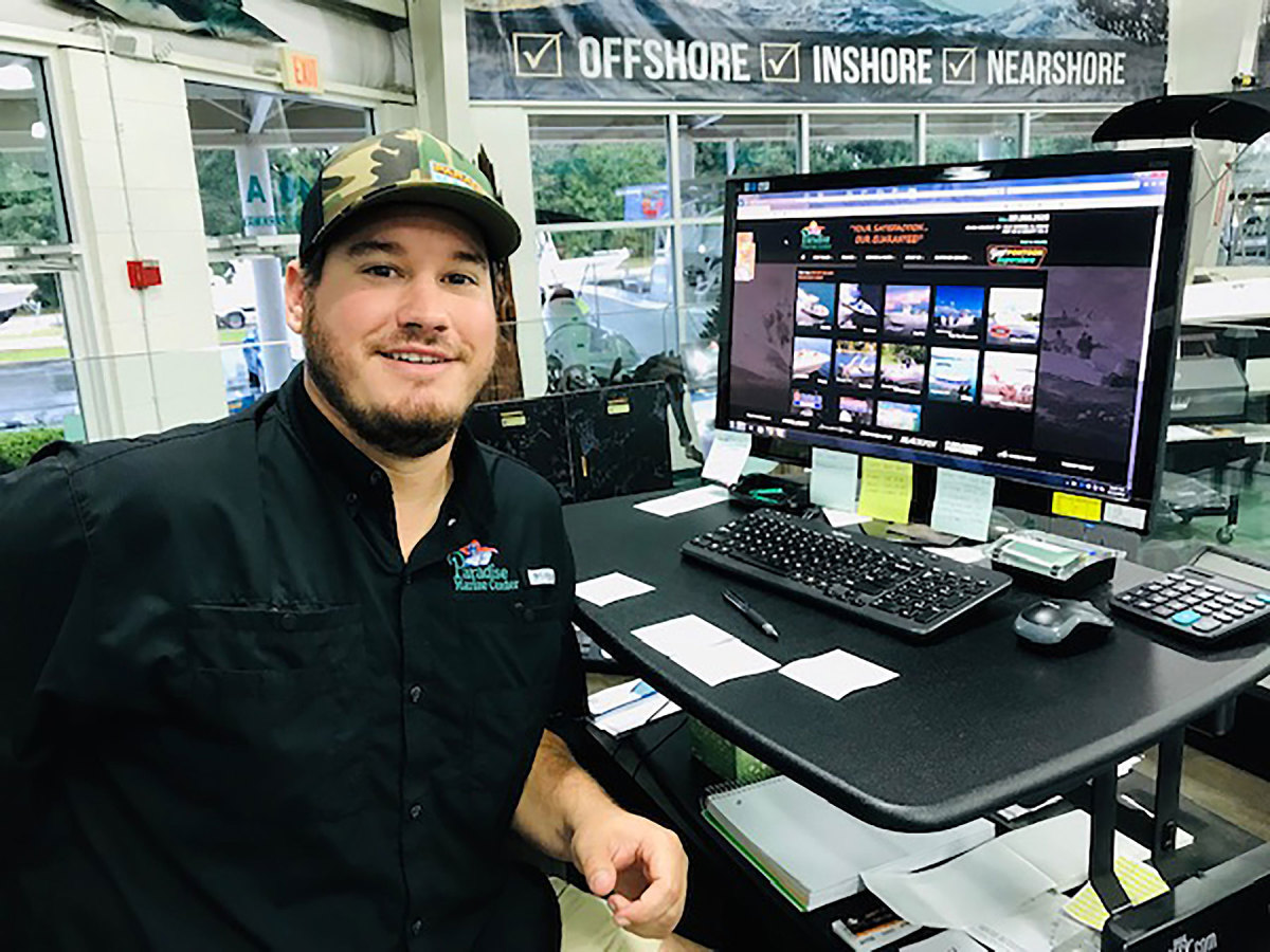Jarett Myers of Paradise Marine Center on the Gulf Coast of Alabama is trying to go with the supply-chain flow.