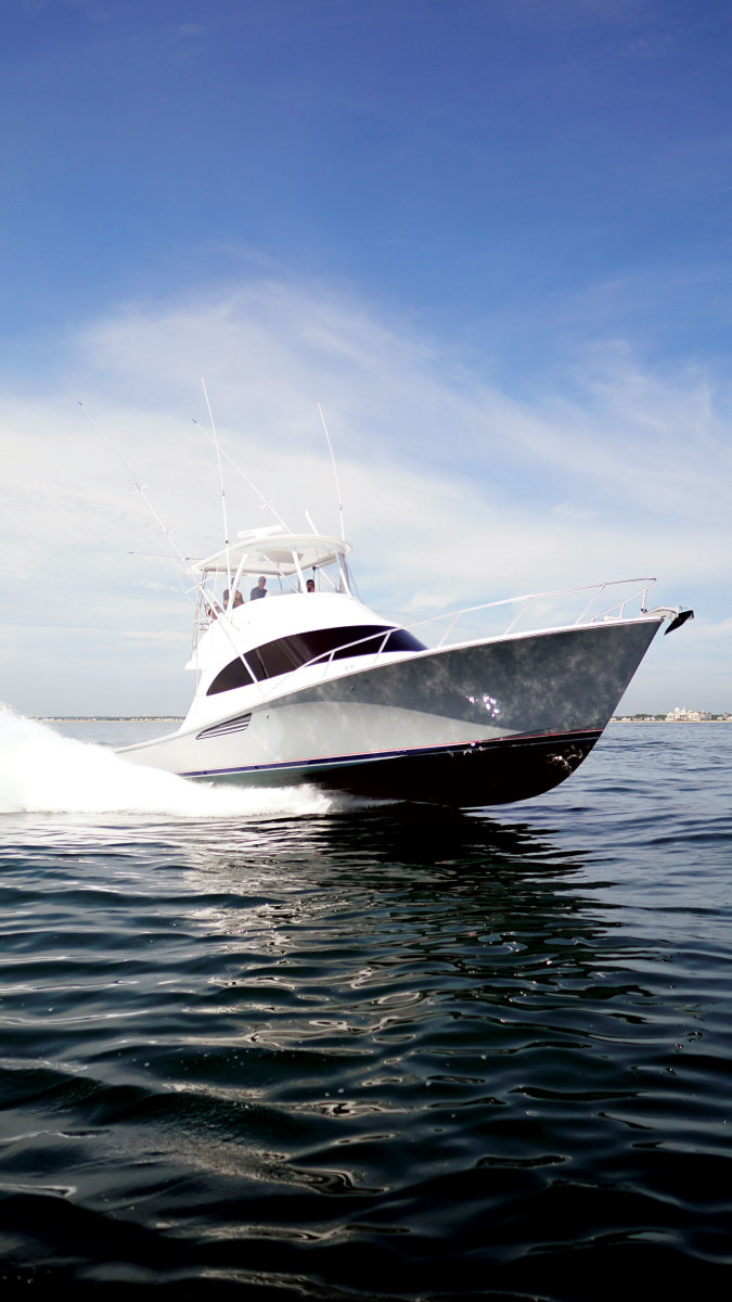 The Billfish 46 leaves the shed at Viking's New Gretna, N.J., operation.