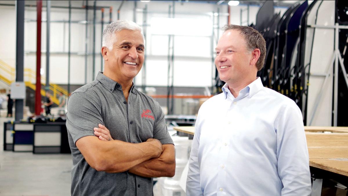 Barletta founder and president Bill Fenech (left) with Winnebago CEO Michael Happe.
