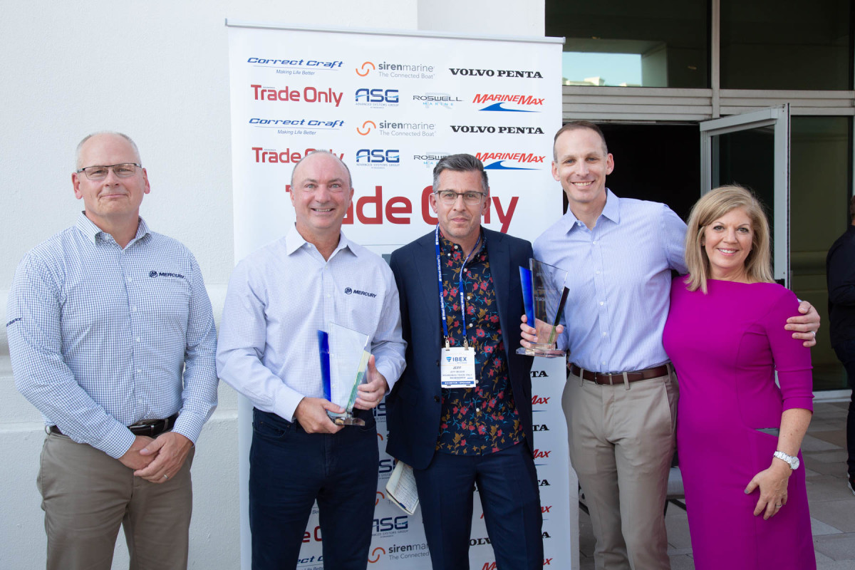 (From left) Tim Reid, Mercury Marine vice president of product development and engineering; Mercury president Chris Drees; Soundings Trade Only editor-in-chief Jeff Moser; Lee Gordon, Brunswick Corp. vice president of global public relations and communications; Soundings Trade Only publisher Michele Goldsmith.