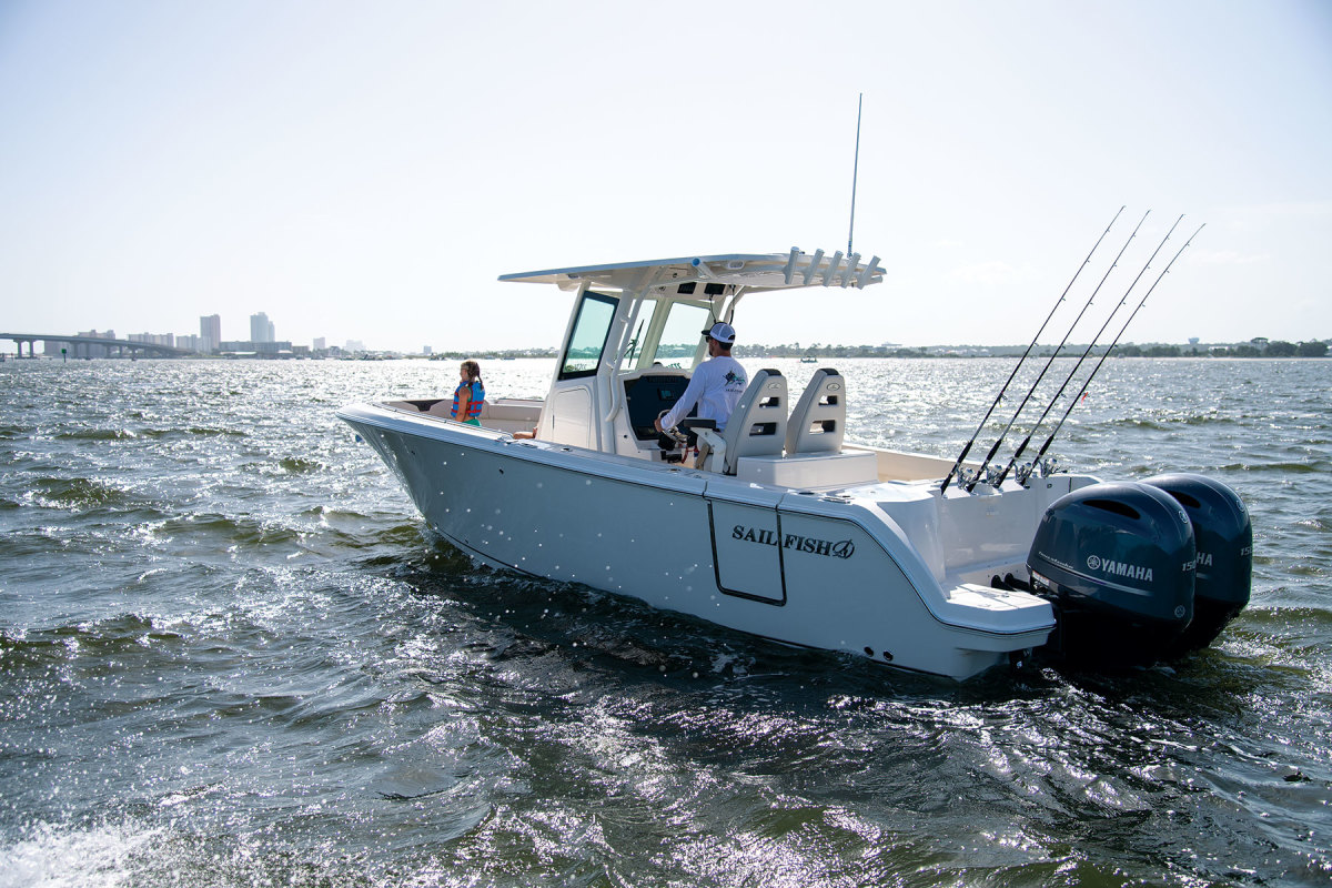 The E.U.'s retaliatory tariff on U.S.-built boats (such as this Sailfish) is scheduled to increase from 25 percent to 50 percent June 1.