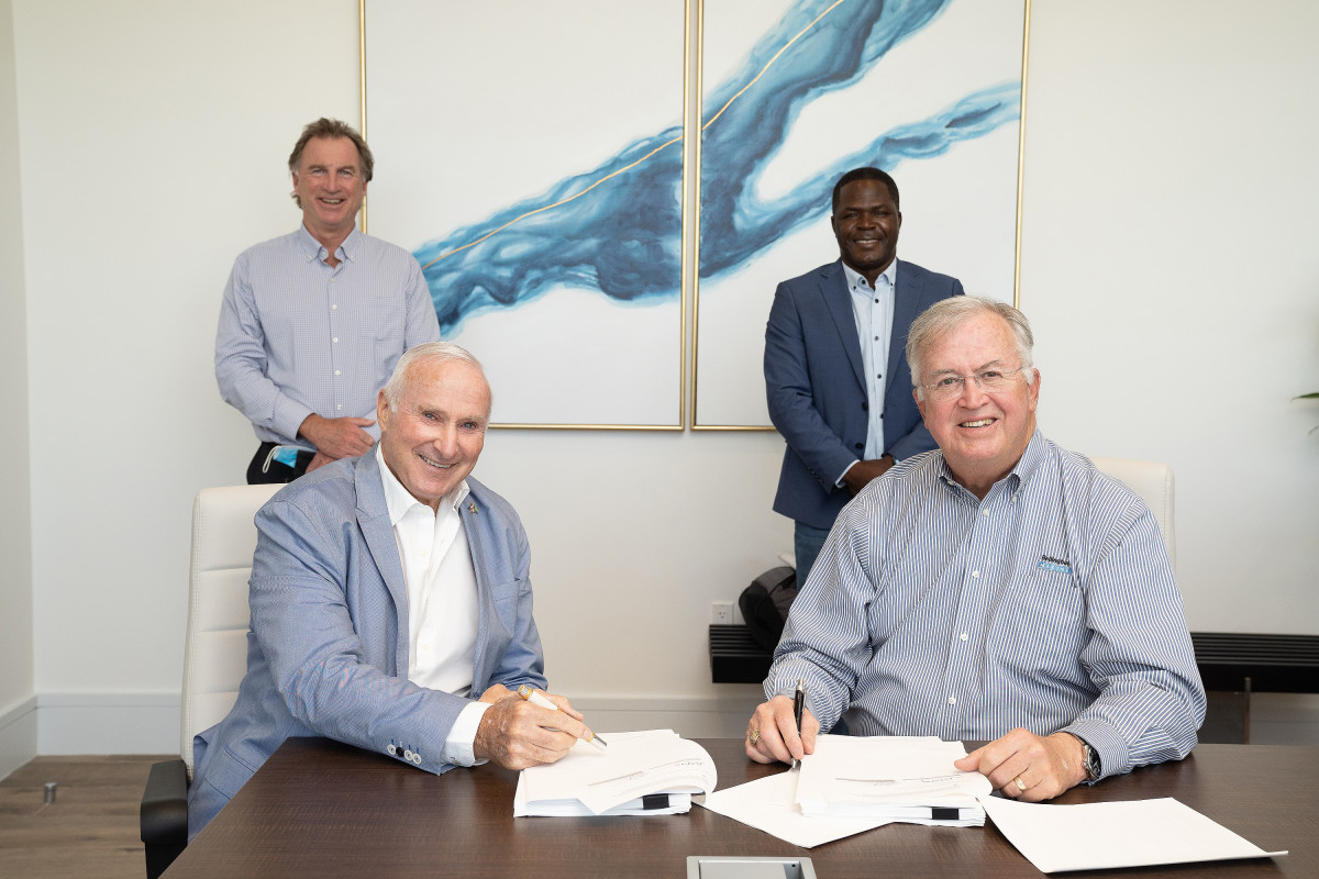 Sterling Global and Bellingham Marine sign contracts for the floating concrete dock system.