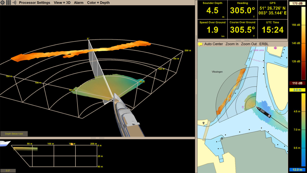 Argos 500 data showing the bottom and in water targets in a wide field of view of 120 degrees in short range mode.