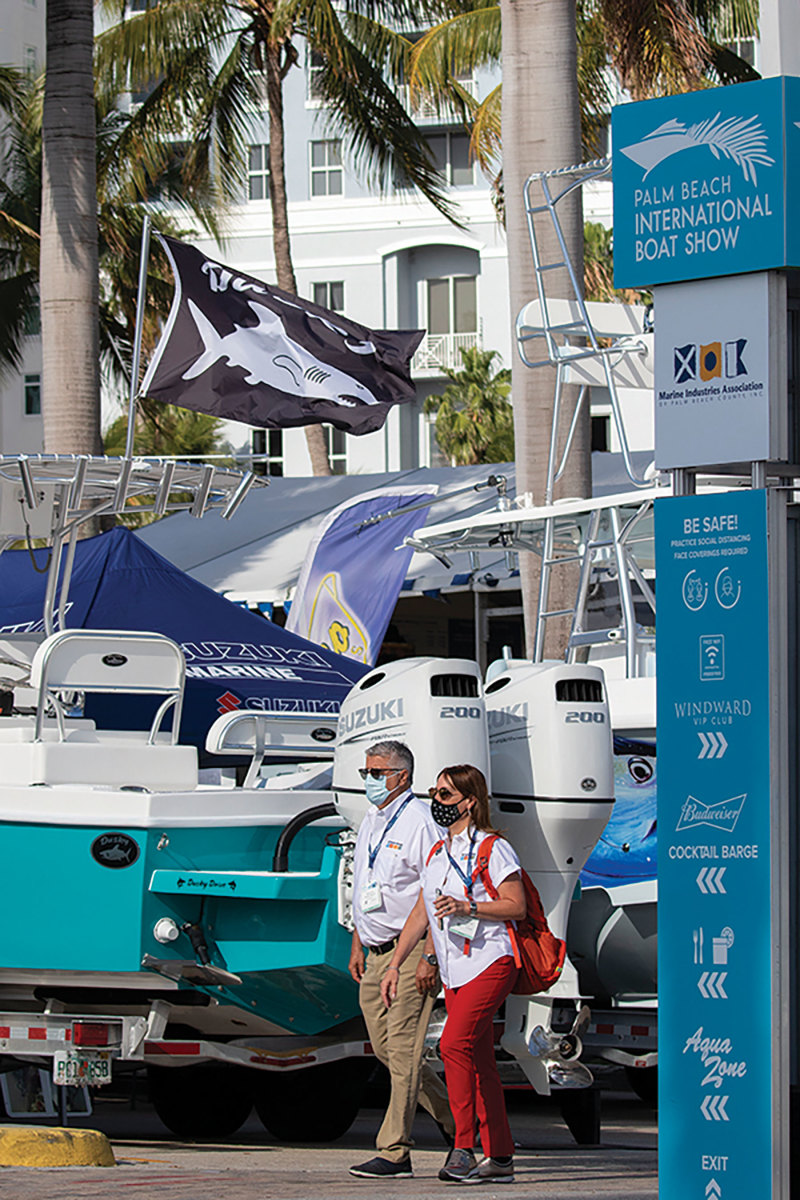 The outdoors and on-the-water components of boat shows help to keep them safe events.