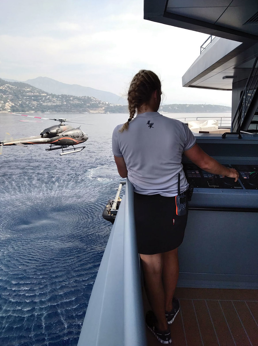 Emily Grassby most recently served as second officer of a 70-meter expedition yacht.