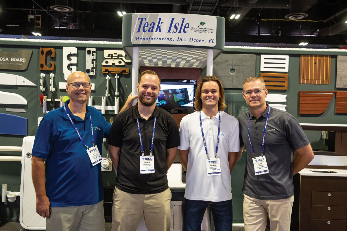 The Teak Isle family, (From left) Pat Brown, his son Andrew, Parker and his father, Dave.