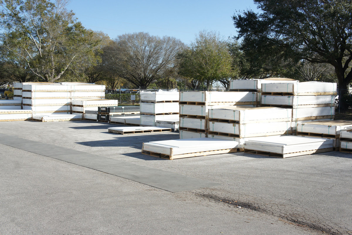Pallets of King StarBoard sheets await the CNC router.