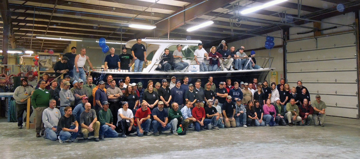 The crew celebrated the launch of the 500th Back Cove in 2012.