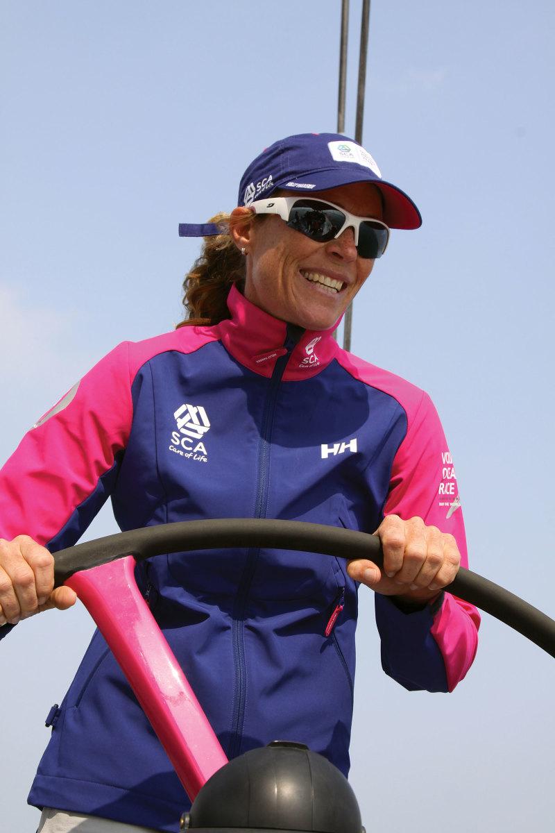 Carolijn Brouwer at the helm  during the  2014-2015 Volvo Ocean Race.
