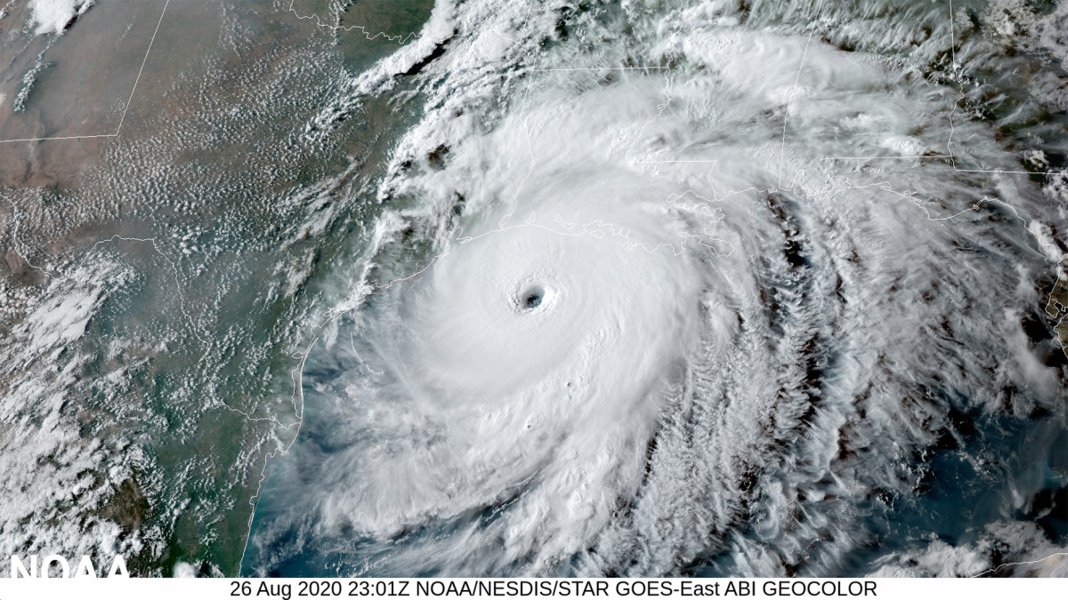 Hurricane Laura approaches the Gulf Coast on Aug. 26, 2020.