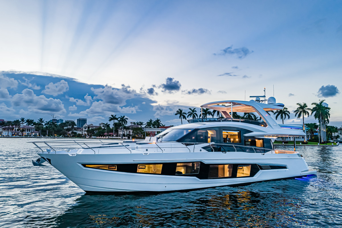 The Galeon 680 Fly is the builder's second-largest model behind the 700 Sky.