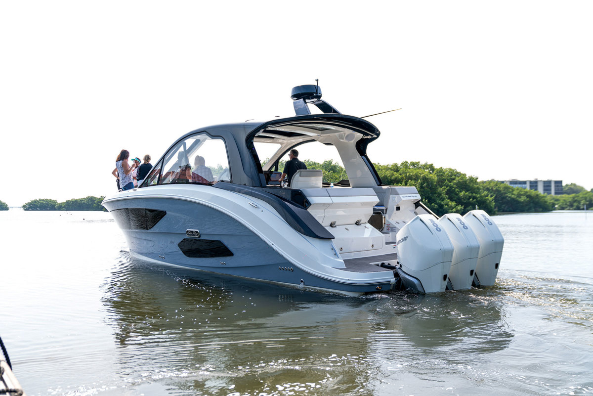 Sea Ray's new Sundancer 370 made the rounds at MarineMax events.