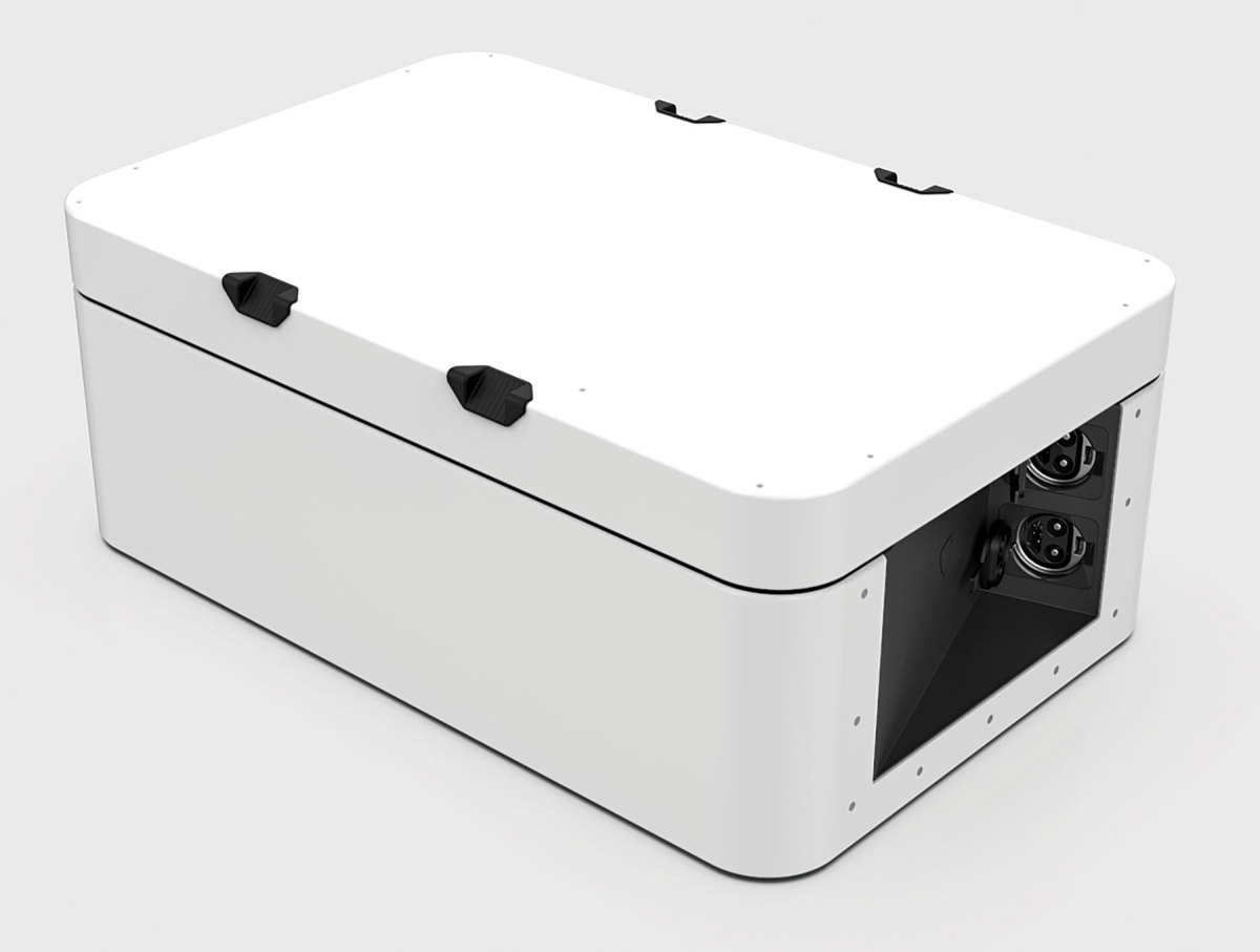 Pure's battery pack charges with 120- or 240-volt shore power.