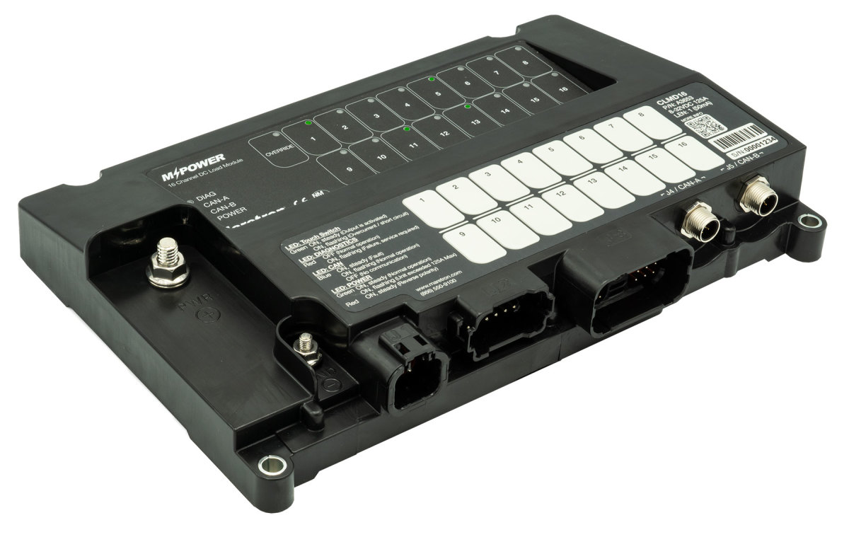 Maretron's scalable 16-channel DC load controller module is designed to meet the growing needs of larger boats.
