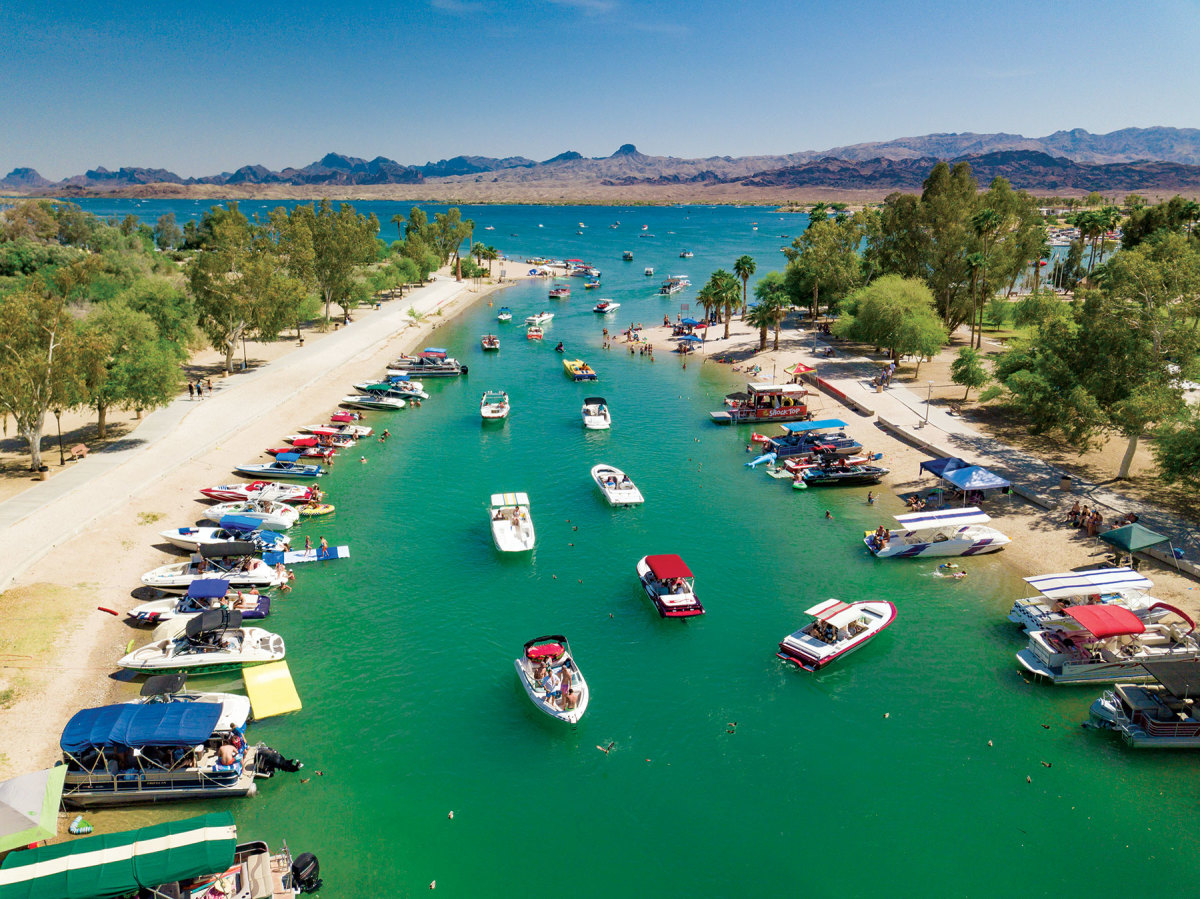 Despite low water, the  Bridgewater Channel canal off  Lake Havasu remains a popular spot.