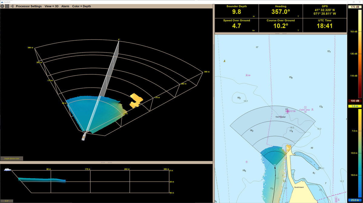 Argos 350 User-Interface: showing bottom and in-water target detection