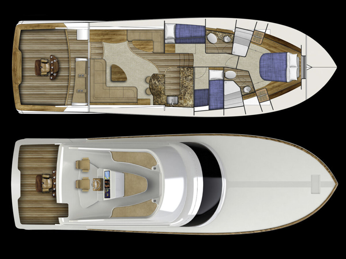 The interior will have an open salon layout with three staterooms and two heads.
