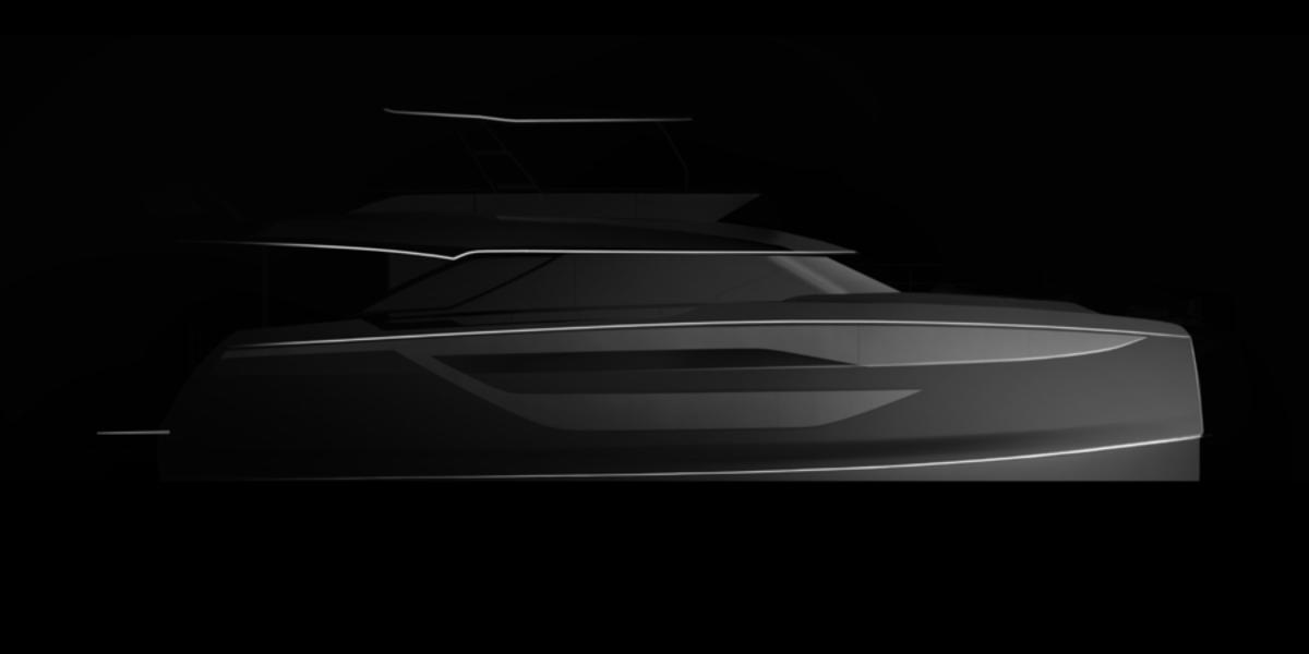A rendering of the Prestige's power catamaran M-Line.